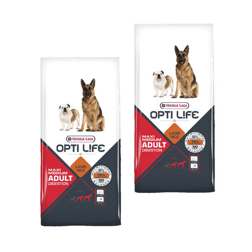 Opti Life Adult Digestion Medium & Maxi 2 x 12,5kg